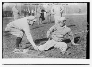 [Matsuda (Waseda University, Japan) is safe; a re-enactment of a play from a baseball game with Chicago University, Marshall Field, May 1911]  (LOC)